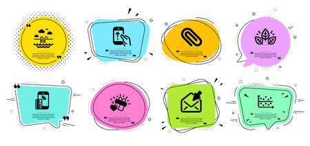 Love gift, Organic tested and Paper clip line icons set. Chat bubbles with quotes. Open mail, Contactless payment and Swipe up signs. Swimming pool, Dot plot symbols. Heart, Bio ingredients. Vector