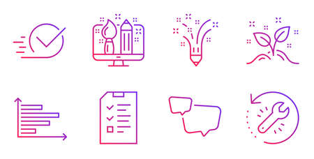 Startup concept, Speech bubble and Checkbox line icons set. Horizontal chart, Creative design and Inspiration signs. Interview, Recovery tool symbols. Launch project, Chat message. Vector Ilustracja