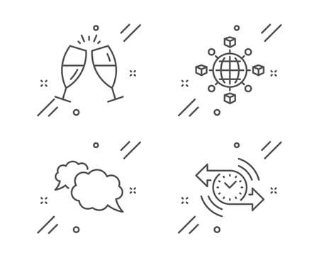 Champagne glasses, Logistics network and Messenger line icons set. Timer sign. Chin-chin, International tracking, Speech bubble. Stopwatch. Line champagne glasses outline icon. Vector
