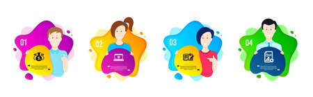 Check investment, Engineering documentation and Website education icons simple set. People shapes timeline. Report sign. Business report, Manual, Video learning. Presentation document. Vector Ilustracja