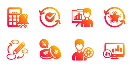 Calculator alarm, Keywords and Approved line icons set. Support, Loyalty points and Presentation board signs. Currency exchange, Candlestick chart symbols. Accounting, Marketing strategy. Vector Ilustrace