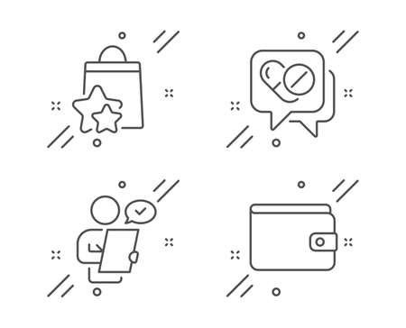 Loyalty points, Customer survey and Medical drugs line icons set. Money wallet sign. Bonus bags, Contract, Medicine pills. Payment method. Business set. Line loyalty points outline icon. Vector Çizim