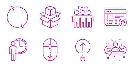 Scroll down, Swipe up and Employees group line icons set. Waiting, Refresh and Packing boxes signs. Favorite, Recruitment symbols. Mouse swipe, Scrolling page. Technology set. Vector Çizim