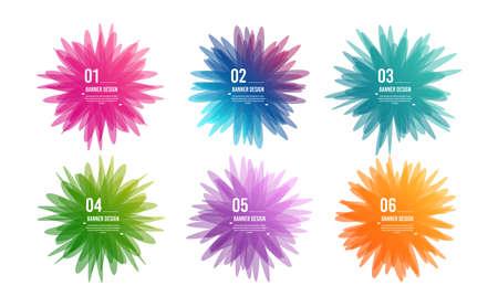Banner di fiori geometrici. I colori sovrapposti modellano il design artistico. Macchie di stile astratto. Infografica passaggi. Elemento tag grafico per annunci pubblicitari. Infografica aziendale. Vettore Vettoriali
