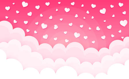Cartoon clouds on hearts. Valentines day cumulus fluffy clouds. Cloudscape in pink sky. Love background. Puffy cloudy weather with hearts. Valentine day vector