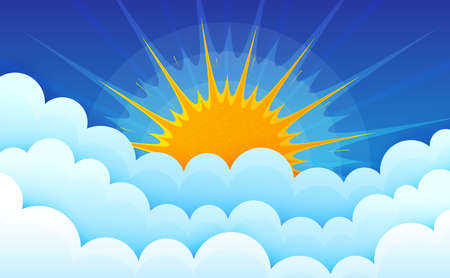 Cartoon clouds with sun on blue sky. Cumulus fluffy clouds. Cloudscape in blue sky. Abstract sunburst rays. Atmospheric background. Puffy cloudy weather. Vector