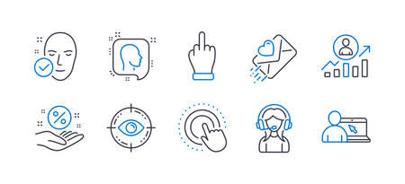 Set of People icons, such as Eye target, Support, Career ladder, Click hand, Head, Health skin, Loan percent, Love letter, Middle finger, Online education line icons. Optometry, Call center. Vector