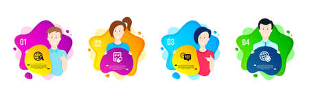 International �¡opyright, Capsule pill and Quick tips icons simple set. People shapes timeline. Globe sign. World copywriting, Medicine drugs, Helpful tricks. Internet settings. Science set. Vector