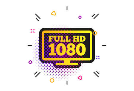 Full hd widescreen tv sign icon. Halftone dots pattern. 1080p symbol. Classic flat widescreen icon. Vector Banco de Imagens - 134258692