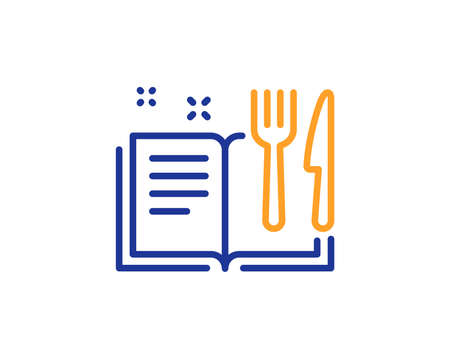 Cutlery sign. Recipe book line icon. Fork, knife symbol. Colorful outline concept. Blue and orange thin line recipe book icon. Vector Imagens - 134258693