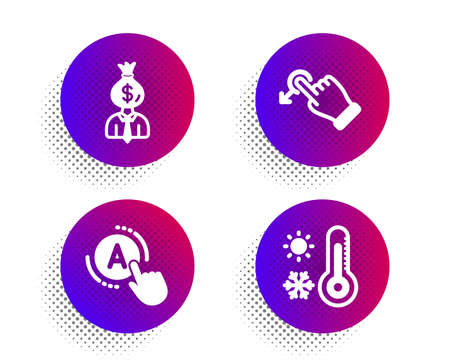 Drag drop, Manager and Ab testing icons simple set. Halftone dots button. Weather thermometer sign. Move, Work profit, A test. Temperature. Business set. Classic flat drag drop icon. Vector