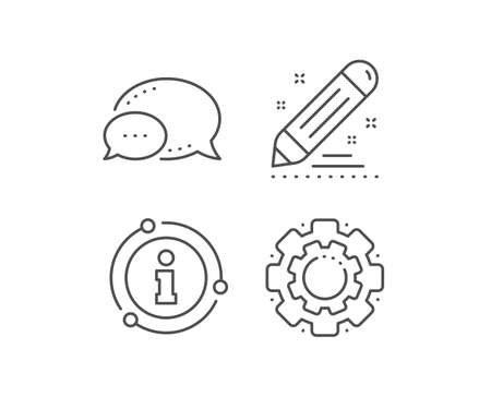 Brand contract line icon. Chat bubble, info sign elements. Pencil sign. Edit social marketing report symbol. Linear brand contract outline icon. Information bubble. Vector Banco de Imagens - 134258821