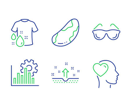 Brazil nut, Clean skin and Seo graph line icons set. Wash t-shirt, Eyeglasses and Friend signs. Vegetarian, Cosmetics, Analytics chart. Laundry shirt. Business set. Vector