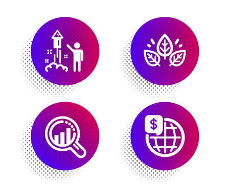 Seo analysis, Fireworks and Organic tested icons simple set. Halftone dots button. World money sign. Targeting chart, Party pyrotechnic, Bio ingredients. Global markets. Science set. Vector Illustration