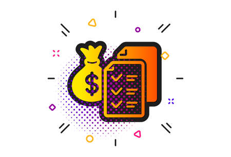 Audit report sign. Halftone circles pattern. Accounting wealth icon. Check finance symbol. Classic flat accounting wealth icon. Vector