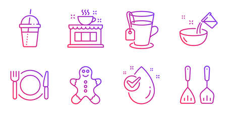 Water drop, Cooking water and Coffee cocktail line icons set. Restaurant food, Tea and Coffee shop signs. Gingerbread man, Cooking cutlery symbols. Clean aqua, Glass. Food and drink set. Vector Imagens - 134258889