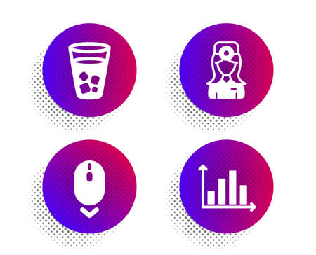 Oculist doctor, Scroll down and Ice tea icons simple set. Halftone dots button. Diagram graph sign. Optometrist, Mouse swipe, Soda beverage. Presentation chart. Business set. Vector