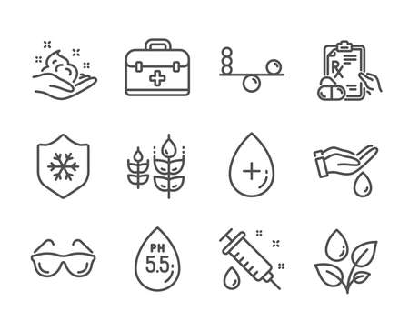 Set of Healthcare icons, such as Plants watering, Medical syringe, Balance, Eyeglasses, Clean skin, Ph neutral, Skin care, Gluten free, Wash hands, Oil serum, Prescription drugs, First aid. Vector 向量圖像