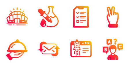Refresh mail, Interview and Chemistry experiment line icons set. Restaurant food, Start business and Victory hand signs. Arena stadium, Quiz test symbols. New e-mail, Checklist file. Vector Illustration