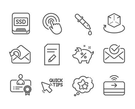 Set of Technology icons, such as Click, Ssd, Contactless payment, Approved mail, Edit document, Chemistry pipette, Augmented reality, Send mail, Ranking stars, Quick tips, Certificate. Vector