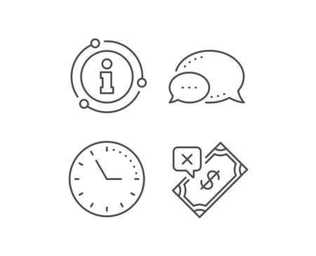 Rejected Payment line icon. Chat bubble, info sign elements. Dollar money sign. Finance symbol. Linear rejected Payment outline icon. Information bubble. Vector Banque d'images - 134259012