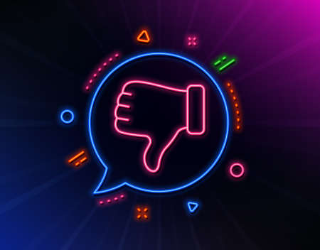 Dislike hand line icon. Neon laser lights. Thumbs down finger sign. Gesture symbol. Glow laser speech bubble. Neon lights chat bubble. Banner badge with dislike hand icon. Vector