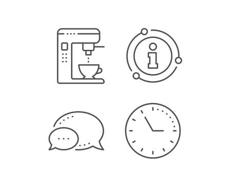 Coffee maker line icon. Chat bubble, info sign elements. Vending machine sign. Make tea symbol. Linear coffee maker outline icon. Information bubble. Vector