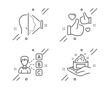 Face id, Like and Opinion line icons set. Skin care sign. Phone scanning, Thumbs up, Choose answer. Hand cream. People set. Line face id outline icon. Vector Ilustração