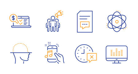 Brand ambassador, Atom and Online accounting line icons set. Face scanning, Comments and Time signs. Music phone, Music making symbols. Megaphone, Electron. Technology set. Vector Ilustração