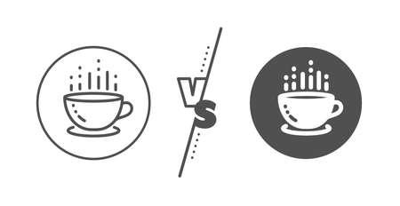 Hot tea drink sign. Versus concept. Coffee cup line icon. Hotel service symbol. Line vs classic coffee cup icon. Vector