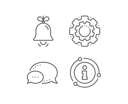 Christmas bell line icon. Chat bubble, info sign elements. New year tree decoration sign. Linear bell outline icon. Information bubble. Vector 스톡 콘텐츠 - 134259153