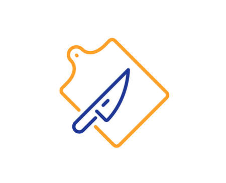 Cutlery sign. Cutting board line icon. Cooking knife symbol. Colorful outline concept. Blue and orange thin line cutting board icon. Vector Ilustração