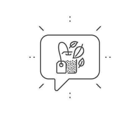 Mint Tea bag line icon. Chat bubble design. Fresh herbal beverage sign. Mentha leaves symbol. Outline concept. Thin line mint bag icon. Vector Ilustração