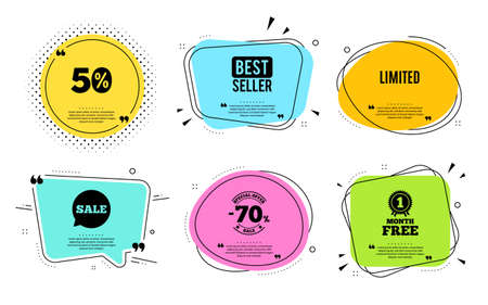 Limited symbol. Best seller, quote text. Special offer sign. Sale. Quotation bubble. Banner badge, texting quote boxes. Limited text. Coupon offer. Vector 向量圖像