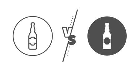 Craft beer sign. Versus concept. Beer bottle line icon. Brewery beverage symbol. Line vs classic beer bottle icon. Vector