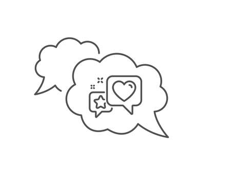 Star, heart line icon. Chat bubble design. Feedback rating sign. Customer satisfaction symbol. Outline concept. Thin line heart icon. Vector Illustration