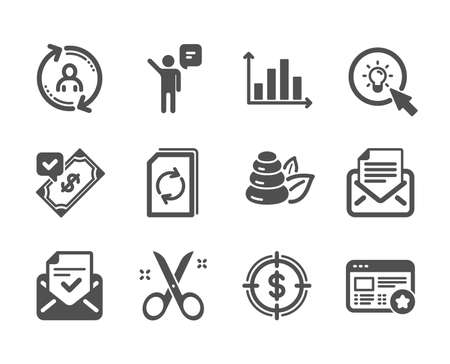 Set of Business icons, such as Favorite, Approved mail, Mail correspondence, Spa stones, Diagram graph, Update document, User info, Dollar target, Scissors, Accepted payment, Agent, Energy. Vector
