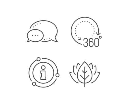 360 degrees line icon. Chat bubble, info sign elements. Panoramic view sign. VR technology simulation symbol. Linear 360 degrees outline icon. Information bubble. Vector Illustration