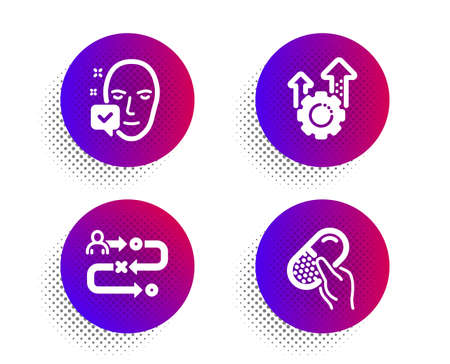 Seo gear, Face accepted and Journey path icons simple set. Halftone dots button. Capsule pill sign. Cogwheel, Access granted, Project process. Medicine drugs. Science set. Vector