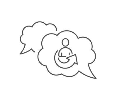 Share line icon. Chat bubble design. Business management sign. Employee, Manager refer symbol. Outline concept. Thin line share icon. Vector