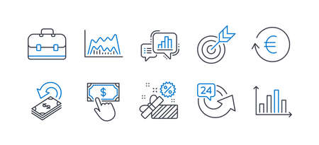 Set of Finance icons, such as Cashback, Sale, 24 hours, Portfolio, Exchange currency, Target, Graph chart, Trade chart, Payment click, Diagram graph line icons. Financial transfer, Gift box. Vector Illustration