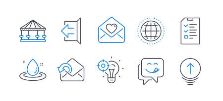 Set of Business icons, such as Yummy smile, Love letter, Fuel energy, Globe, Carousels, Seo idea, Send mail, Interview, Sign out, Swipe up line icons. Emoticon, Heart. Line yummy smile icon. Vector