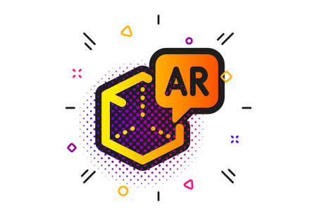 VR simulation sign. Halftone circles pattern. Augmented reality icon. 3d cube symbol. Classic flat augmented reality icon. Vector