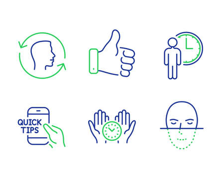 Like hand, Safe time and Face id line icons set. Education, Waiting and Face recognition signs. Thumbs up, Management, Identification system. Quick tips. People set. Vector