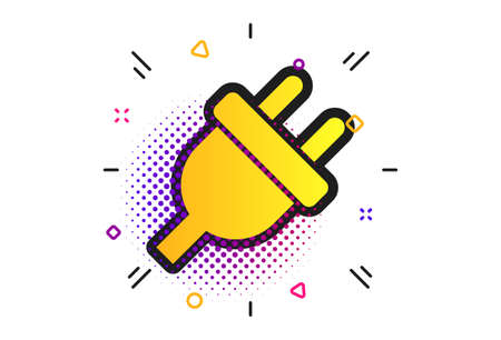 Electric plug sign icon. Halftone dots pattern. Power energy symbol. Classic flat electricity icon. Vector Vector Illustration