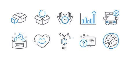 Reihe von Business-Symbolen, wie Busparkplatz, Wirksamkeit, Verpackungsboxen, Rücksendepaket, Hautcreme, sichere Zeit, chemische Formel, Lächelngesicht, Online-Quiz, Walnuss-Liniensymbole. Symbol für Busparkplatz. Vektor