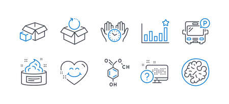 Set of Business icons, such as Bus parking, Efficacy, Packing boxes, Return package, Skin cream, Safe time, Chemical formula, Smile face, Online quiz, Walnut line icons. Line bus parking icon. Vector