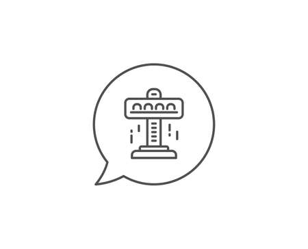 Carousels line icon. Chat bubble design. Amusement attraction park sign. Outline concept. Thin line attraction icon. Vector Иллюстрация