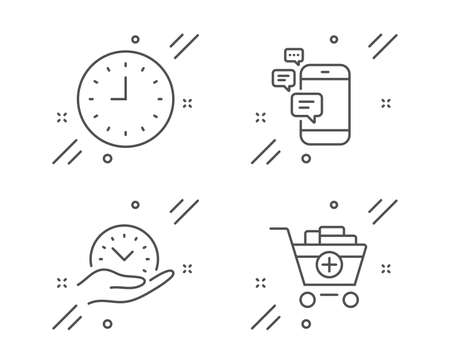 Communication, Clock and Safe time line icons set. Add products sign. Smartphone messages, Time or watch, Management. Shopping cart. Line communication outline icon. Vector
