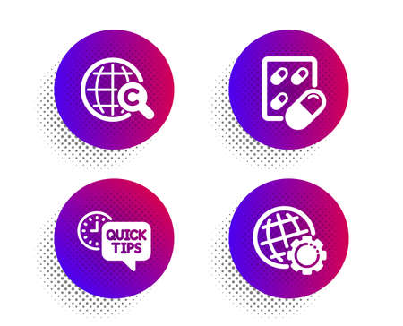 International Ð¡opyright, Capsule pill and Quick tips icons simple set. Halftone dots button. Globe sign. World copywriting, Medicine drugs, Helpful tricks. Internet settings. Science set. Vector Ilustração